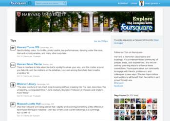 sugerencias mostradas en la fanpage de Harvard en Foursquare