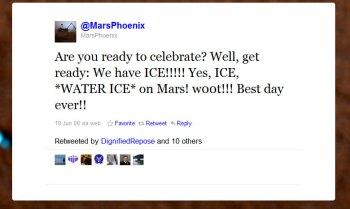 mars phoenix ice tweet