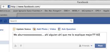 facebook status update - me aburro!
