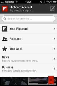 Configuración de cuentas en Flipboard