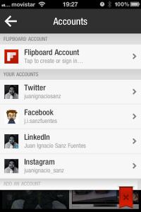 redes sociales accesibles desde Flipboard