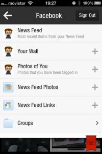 configuración específica de acceso a Facebook